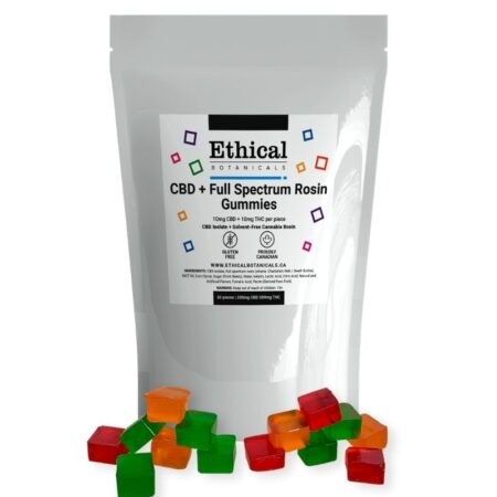 visualizes THC gummies by Ethical Botanicals product plus packaging