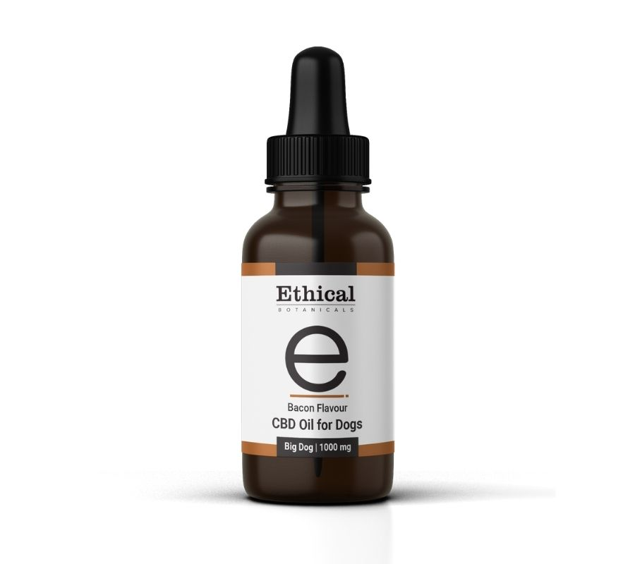 visualize bottle of bacon flavoured cbd oil for dogs by ethical botanicals
