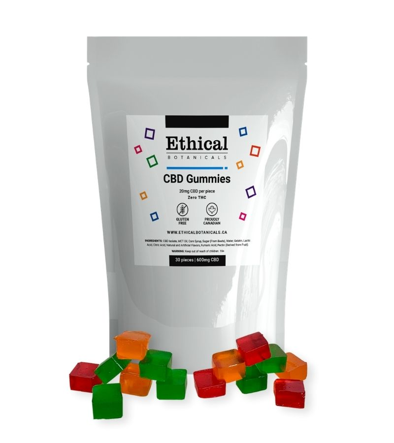 visualizes CBD gummies by Ethical Botanicals product plus packaging
