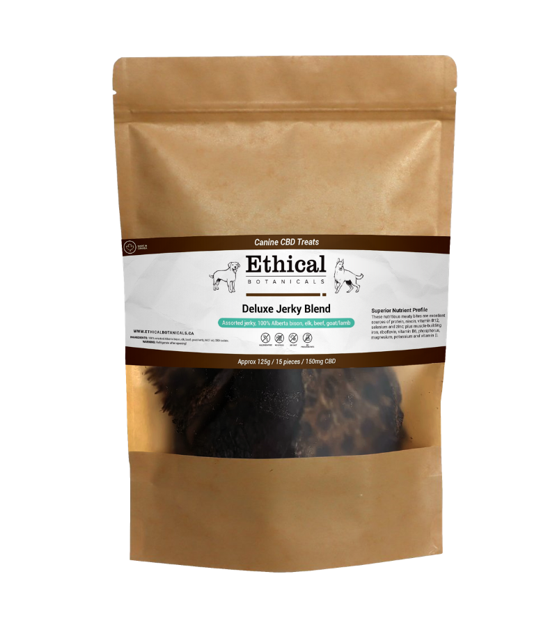 visualizes packaging of Deluxe Jerky Blend CBD dog treats by Ethical Botanicals